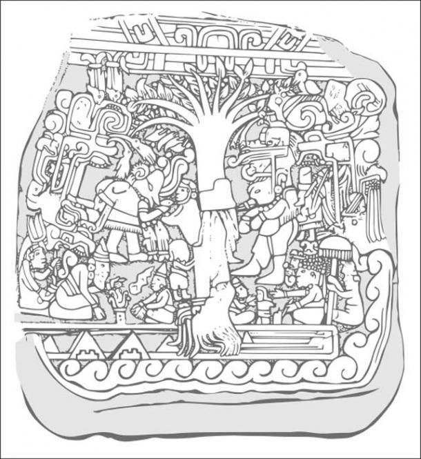 An illustration of Izapa Stela 5.