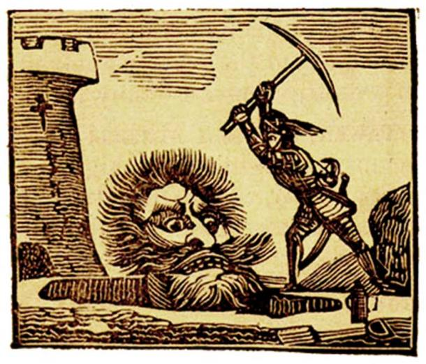 Jack kills Cormoran with a pick-axe. (Public Domain)