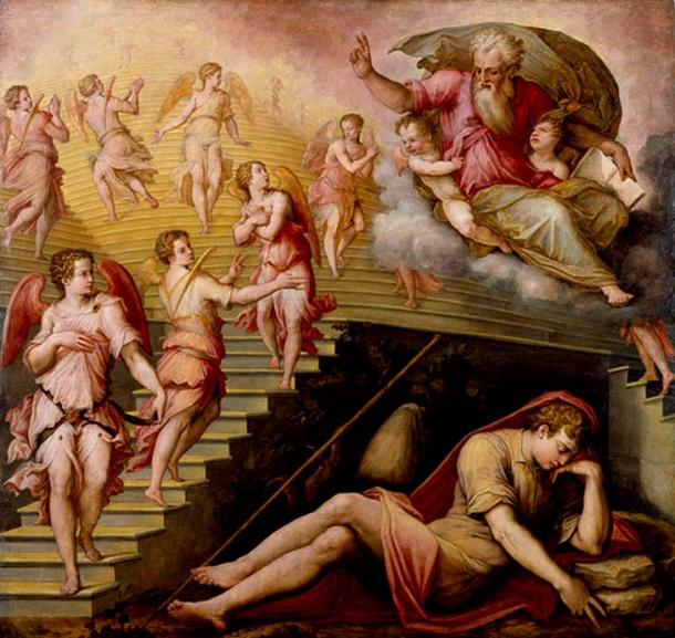 'Jacob's Dream' with Jacob's ladder depicted as stairs (1557-1558) by Giorgio Vasari.