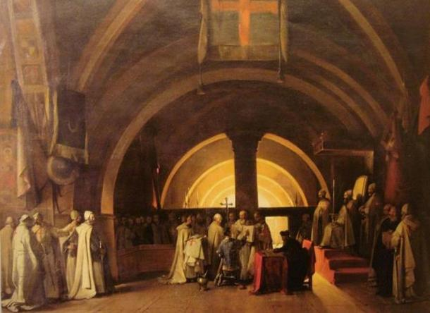 Ordination of Jacques de Molay in 1265 as a Knight Templar, at the Beaune commandery. Painting by Marius Granet (1777-1849)