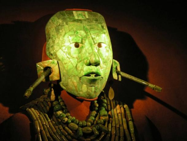 Jade death mask of Palak the Great was part of his mummy at the tomb discovered at Palenque in 1952.