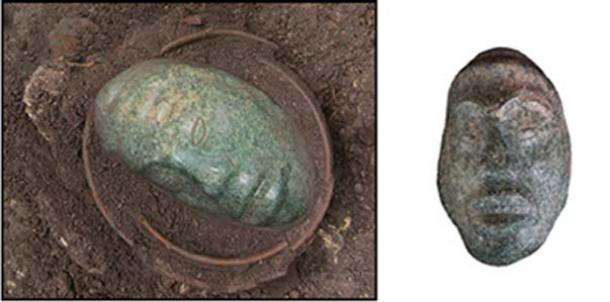 Jade head pendant weighing 5 pounds (2 kg) was found recently in Ucanal Guatemala. (Image: Left, Halperin, C et al; Right, Christina Halperin)