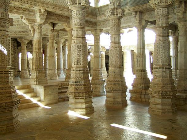 Jain Marble Temple pillar Frescoes, Ranakpur, Pali district, India