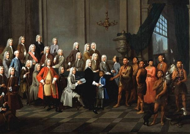 'James Oglethorpe presenting the Yamacraw Indians to the Georgia Trustees', an event on July 3, 1734, one year after Oglethorpe landed to start the new colony. (Public Domain)