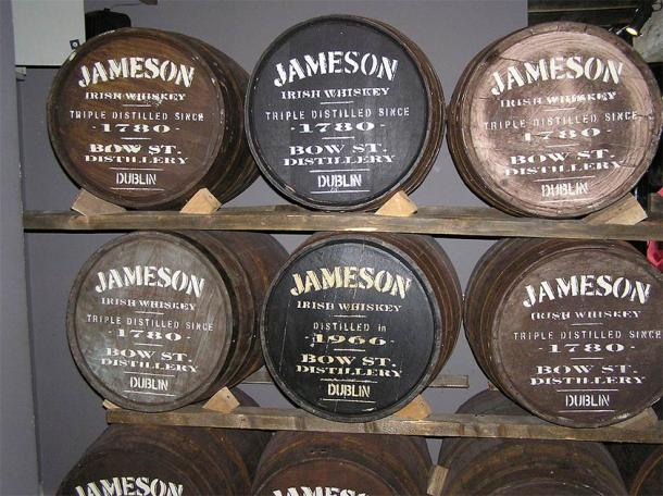 Jameson is a famous whiskey distilled in Dublin, Ireland, and poteen, illegal or legal, would have been made in wooden barrels like these. (Hans-Peter Eckhardt / CC BY-SA 2.0 DE)