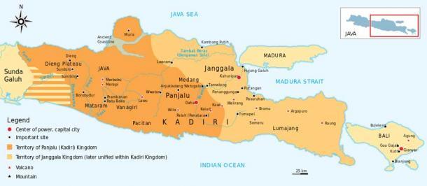 Janggala and Panjalu (Kediri) kingdom, later unified as Kediri kingdom.