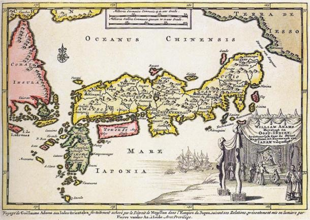 1707 map of Japan, with a cartouche representing the audience of the English samurai William Adams with the shogun, Tokugawa Ieyasu. (Public domain)
