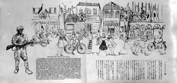 Outline of the Japanese entry in Batavia, as depicted by the Japanese.