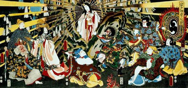 "Japanese goddess Amaterasu emerging from a Cave, ""ORIGIN OF IWATO KAGURA DANCE."""