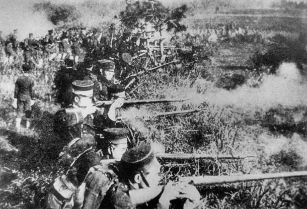 Japanese troops during the Sino-Japanese war.