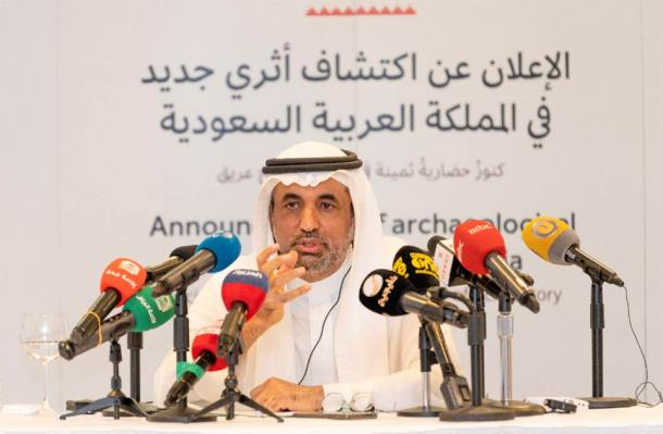 Dr Jasir Al-Herbish, Saudi Heritage Commission CEO, during the press conference. (Heritage Commission Press Release)