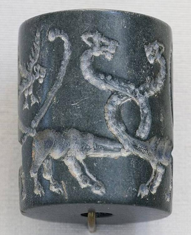 Jasper cylinder seal: monstrous lions and lion-headed eagles, Mesopotamia, Uruk Period (4100 BC–3000 BC).