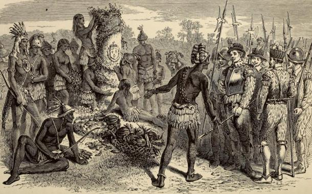 Jean Ribault's pillar on the river May from his expedition to the New World showing the meeting of local indigenous Americans and the French (Bryant, William Cullen, 1794-1878; Gay, Sydney Howard, 1814-1888