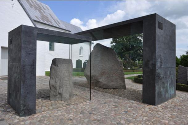 The Jelling rune stones archaeological site, Denmark.