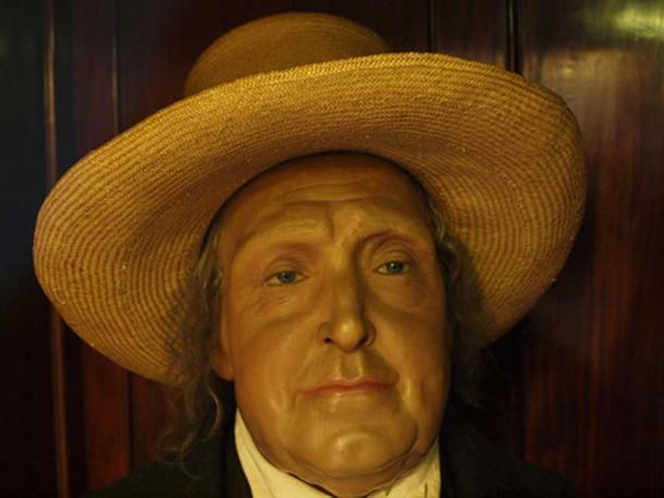 Jeremy Bentham's wax head representation on the auto-icon. (CC BY-NC 2.0)
