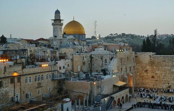 emple Mount with Western wall and Dome of the Rock at Sunset, Jerusalem, Israel