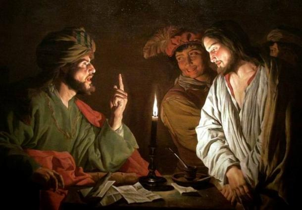 Jesus and the high priest Joseph Caiaphas (left). Painting circa 1630.