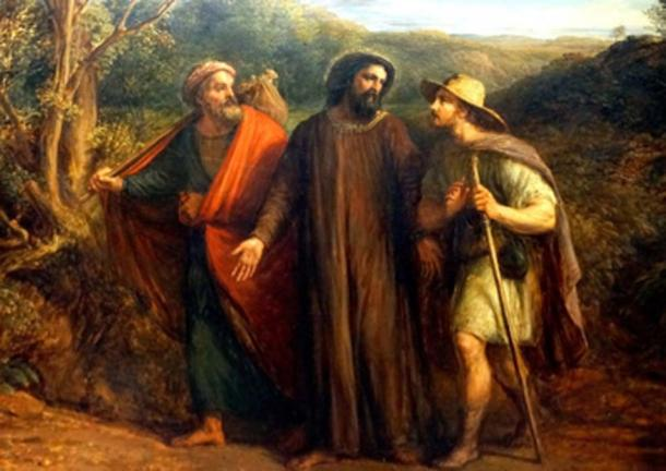 Jesus meets two disciples on the road to Emmaus. (Neil Alexander McKee / CC BY-SA 2.0)
