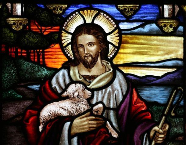 Jesus depicted as the Good Shepherd.
