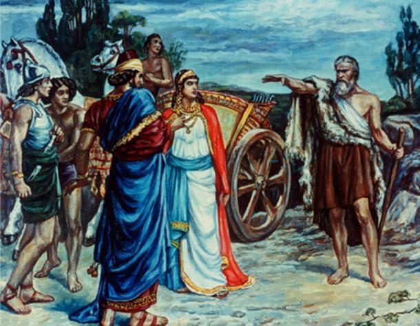 Jezabel and Ahab Meeting Elijah in Naboth's Vineyard Giclee. Print by Sir Frank Dicksee.