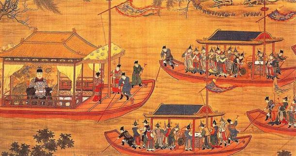 Jiajing on his state barge. Scroll c. 1538, artists unknown.