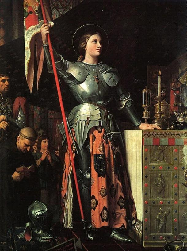 Joan at the coronation of Charles VII, by Jean Auguste Dominique Ingres in 1854.