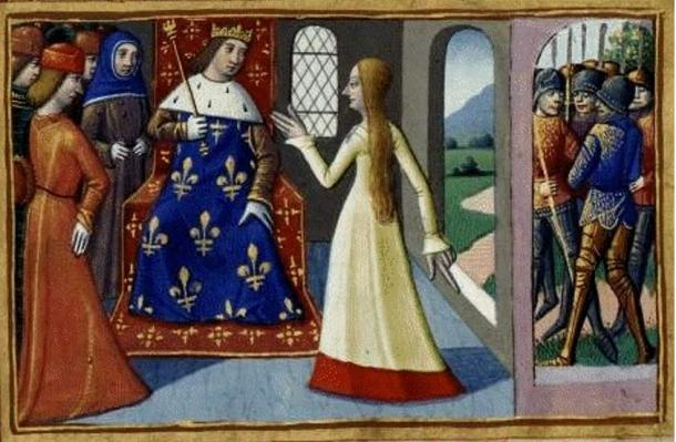 Joan of Arc meeting Charles VII, the king of France.