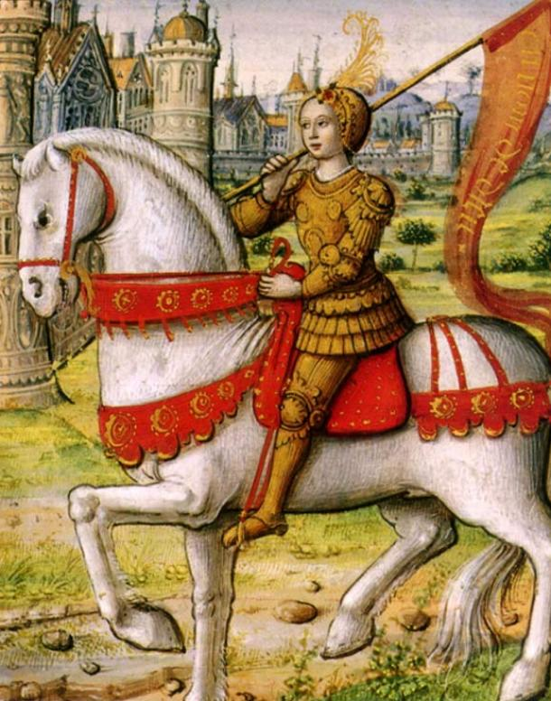 Joan of Arc on horseback. (1505)