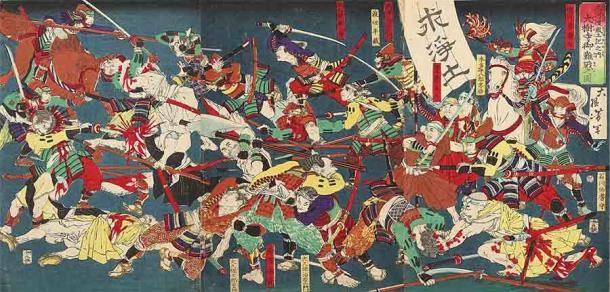 Tokugawa Ieyasu, con la ayuda de los monjes Jodo del Templo Daijuji, derrota a los Ikkō-ikki en la batalla de Azukizaka, 1564 d.C.