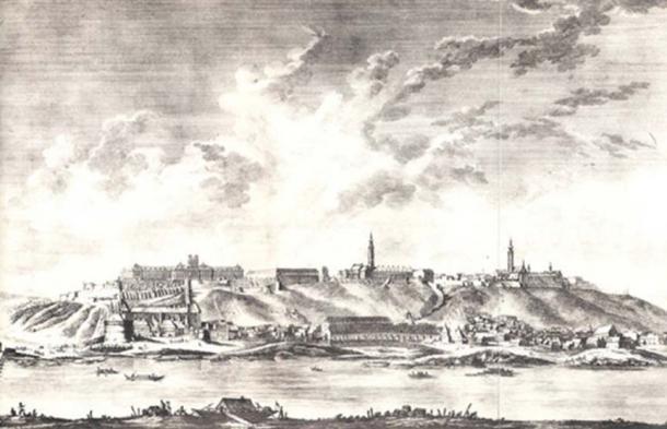 Johann Ernst Mansfeld Etching of Buda Castle Walls, 1777 (Public Domain)