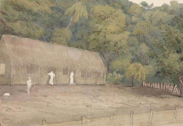 John Adams' house and grave Pitcairn's Island, August 12th 1849'.