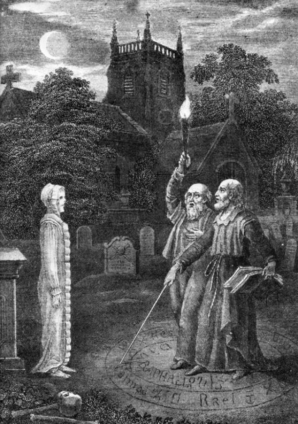"Grimoires often provided techniques for summoning the dead, as well as invoking angels or demons. ""John Dee and Edward Kelly evoking a spirit"""
