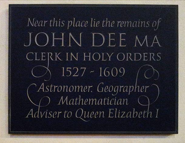 John Dee memorial plaque installed in 2013 inside the church of St Mary the Virgin Mortlake.