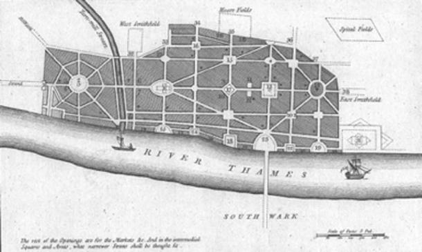 John Evelyn's plan, never carried out, for rebuilding a radically different city after the Great Fire of London. (Bishonen / Public Domain)