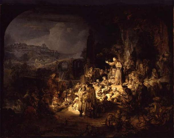 John the Baptist Preaching by Rembrandt (1634) (Public Domain)