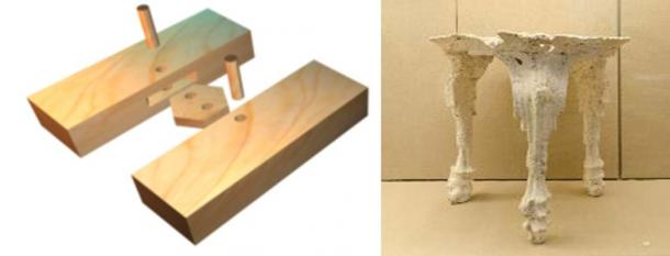 Joinery technique used for a Minoan ship hull (Copyright Nik Aed) and plaster cast of the void left by a Minoan tripod table after the Thera eruption.