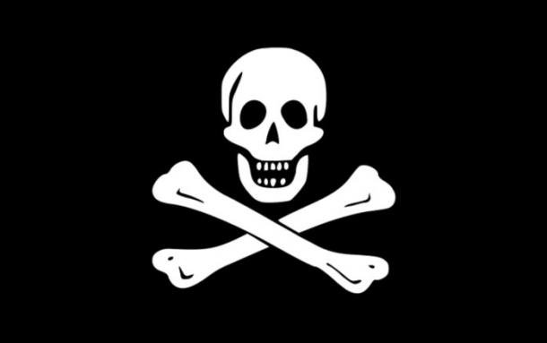 The traditional 'Jolly Roger' flag of piracy.