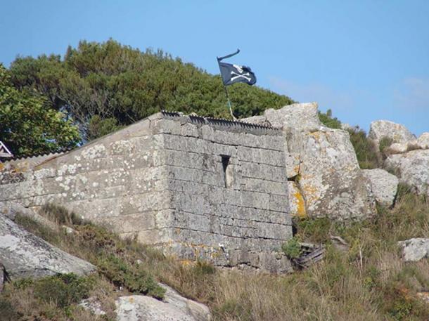 Jolly Roger, seen from the beach Nuestra Señora, in Cíes Islands, Pontevedra, Galicia, Spain.