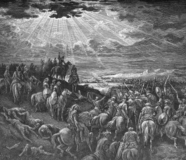"""Joshua Commanding the Sun to Stand Still"" by Gustave Dore, (d. 1883)"