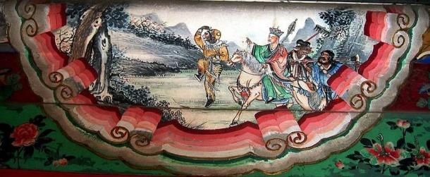 Painting of a scene from The Journey to the West depicting the four protagonists: Sun Wukong, Xuanzang, Zhu Wuneng, and Sha Wujing. Summer Palace, Beijing, China (Rolf Müller/Wikimedia Commons