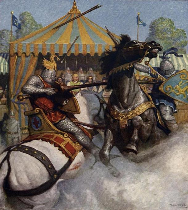 "Jousting tournament with King Arthur's men. Taken from: The Boy's King Arthur: ""Sir Mador's spear brake all to pieces, but the other's spear held."