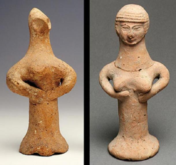 Showing two major types of Judah pillar figurines that have been found. One type has a face that's pinched to make two eyes (Left, Source: Israel Museum). The second type has a mold-made head with defined facial features and rows of curly hair (Right, Source: Metropolitan Museum of Art).