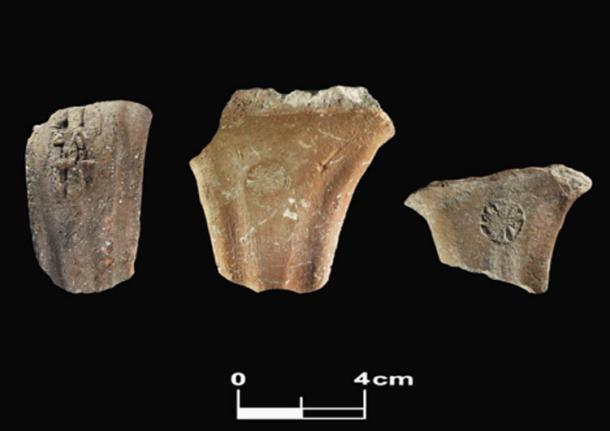 Judahite stamped handles (left to right: LMLK, private (with the names L'Z'R/HGI) and rosette. Found at Tel Burna