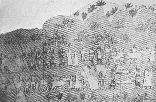 Judean captives being led away from Lachish following the victory of the Assyrians.