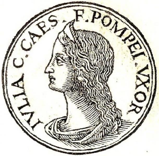 "Julia from Promptuarii Iconum Insigniorum. The inscription reads: ""Julia; Gaius Caesar's daughter; Pompey's wife"". (Hannah~commonswiki / Public Domain)"