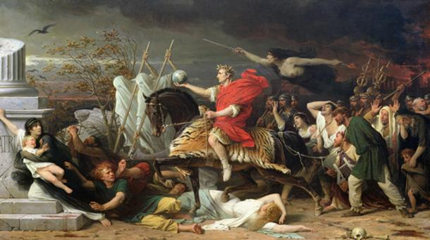 Julius Caesar leading captives to their fate. 'Caesar' by Adolphe Yvon.