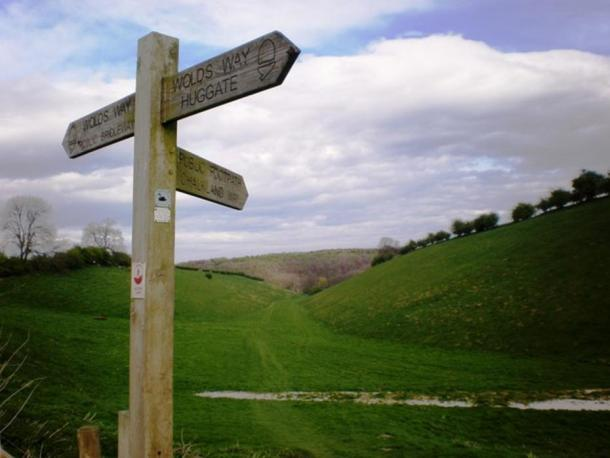 Junction of the Yorkshire Wolds Way with the Chalkland Way.