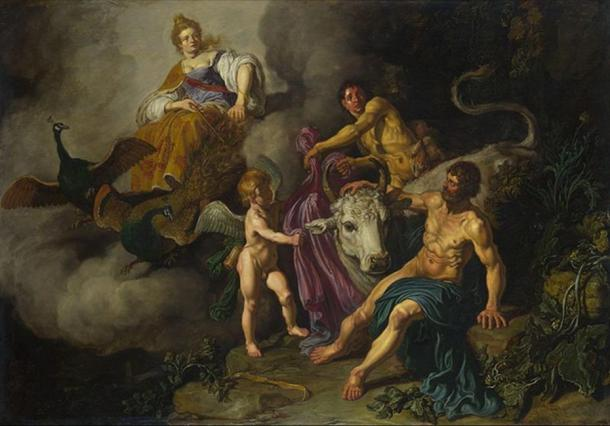 Juno (Hera) discovering Jupiter (Zeus) with Io. (1618) by Pieter Lastman.
