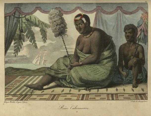 Ka'ahumanu, widow of Kamehameha I with Charles Kana'ina. Ka'ahumanu was said to be one of the most influential leaders in Hawaii's history.