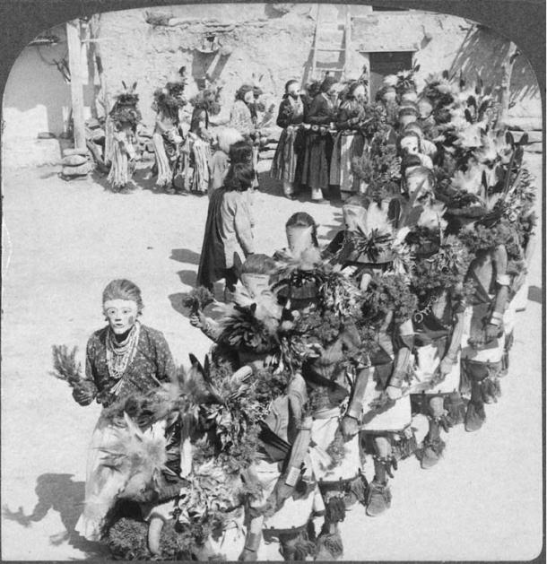 Kachina dancers, Shongopavi pueblo, Arizona, sometime before 1900